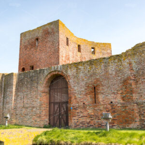 The ruin castle Teylingen in Sassenheim in the Netherlands. Entrance.