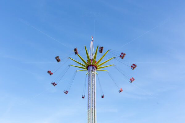 Fast moving whirligig at the Sassenheim town fair in the Netherlands.