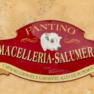 "Old style sign with the words ""Butcher's shop delicatessen"" and ""Selected and guaranteed meats raised in Piedmont"" on a light brown plastered wall. In the Pimonte village Busca of in Italy."