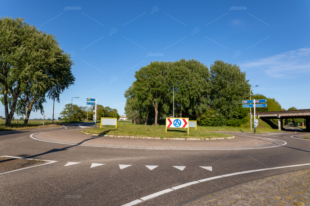 The roundabout on the van Pallandtlaan at the exit and highway ramp of the A44 motorway in the south-holland village of Sassenheim in the netherlands.