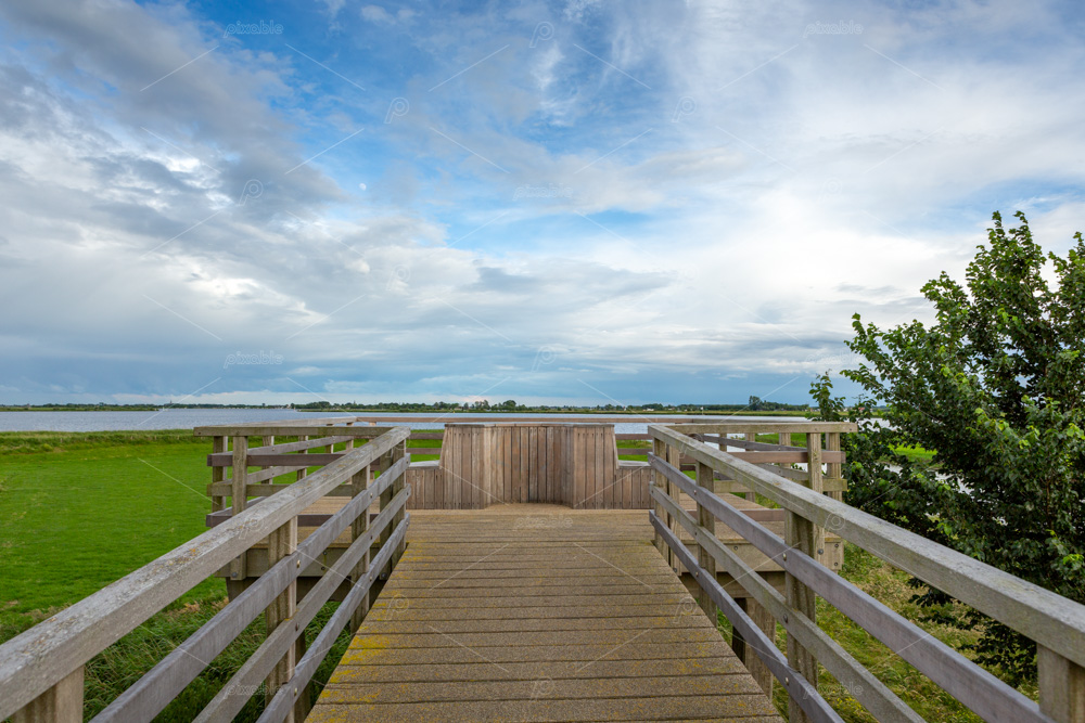 Viewpoint over the water landscape of the Kagerplassen in Warmond, South Holland, the Netherlands.