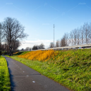 A deserted bikepath along the A44 highway in the south-Holland village of Sassenheim in the Netherlands.