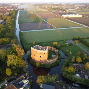 Aerial photo of the historic ruin Teylingen in the South-Holland village of Voorhout in the Netherlands.