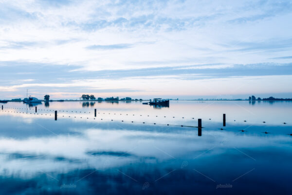 Sunrise over lake 't Joppe at the Kagerplassen in the South-Holland village of Warmond in the Netherlands.