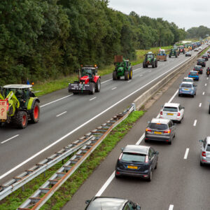 Protest action by angry farmers with tractors on the A44 highway near the town of Sassenheim in the Dutch province of South Holland.