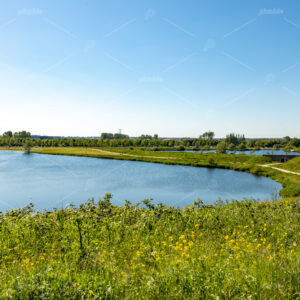 Summer landscape around the Klinkenberger lake in the South-Holland village of Oegstgeest in the Netherlands.