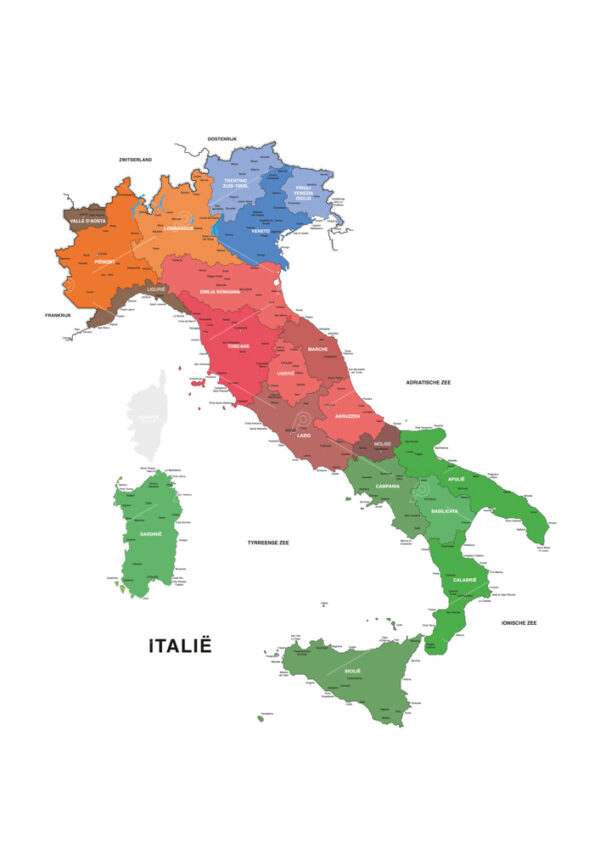 Geographic map of Italy with 20 regions, cities and capitals. Dutch version. Adobe illustrator vector line illustration. Regions are individually editable.