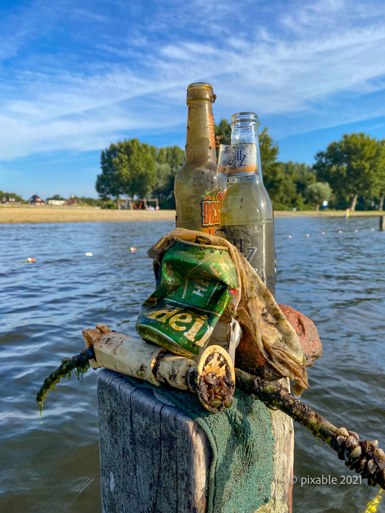 Garbage cleaned up from the water from lake 't Joppe in the South Holland village of Warmond in the Netherlands.